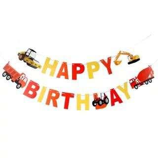 🚚 Construction theme party supplies - Happy Birthday Bunting / birthday banner / party deco