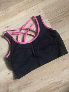 Black and pink sports bra