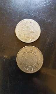 1911光绪元宝 云南省造 库平三钱六分 Genuine Dragon 50 cents silver coins