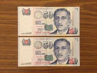 Liquidation Sale - Singapore Portrait Series $50 Paper Banknotes Near/Solid 599999 600000 BCCS Lee Hsien Loong Signature 2 Runs UNC