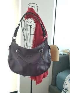 Reduced! Prada full leather purple shoulder bag