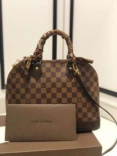 LV Alma PM Damier Ebene with leather strap & bandeau