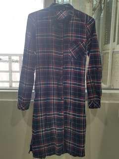 格子長襯衫(可當洋裝穿)