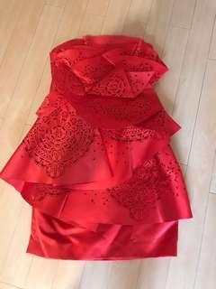 婚紗晚裝 - 紅色,tube dress
