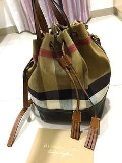BURBERRY Medium Canvas Check and Leather Bucket Bag in Tan