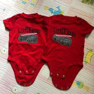 Carter's bodysuit 6m Twinsbb Twins 孖仔