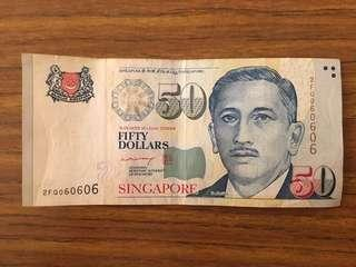 Liquidation Sale - Singapore Portrait Series $50 Paper Banknotes Repeater Numbers 060606 Lee Hsien Loong Signature Used