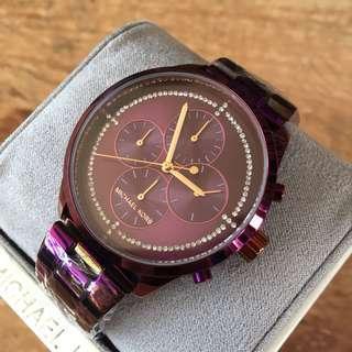 Michael Kors Slater Plum Sunray Dial Chronograph Women's Watch