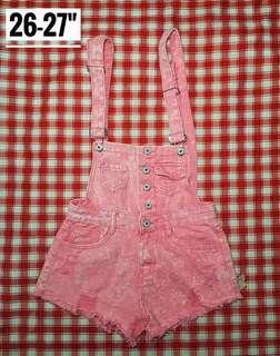 Acid Wash Pink Denim Jumpshorts