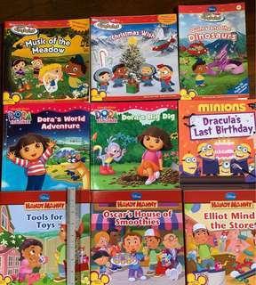 Dora, handy manny, little Einstein, minions story books