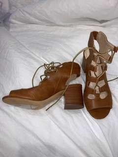 brown lace heels - never worn