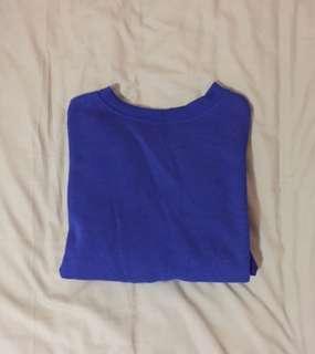 Blue Crew Neck Sweater Crop