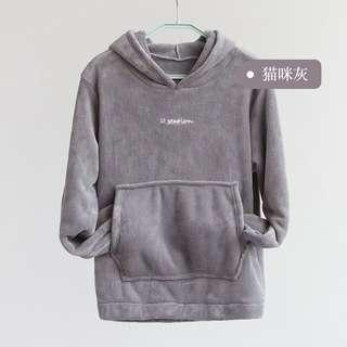 🚚 Plush Coral Fleece Grey Hoodie