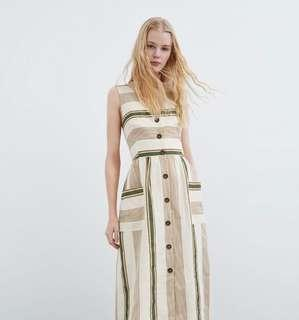 🚚 PO: Laura Linen Striped Midi Dress