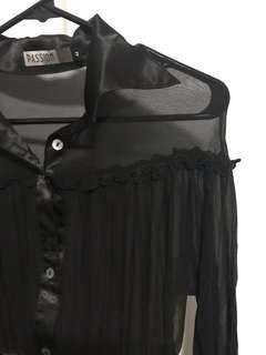 Black long-sleeved sheer blouse