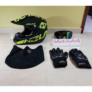 Helmo Lime Green Off Road Full Face Helmet Size M, L & XL