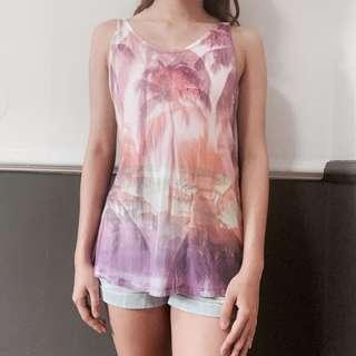 🚚 RipCurl Palm Tree Pastel Pink Purple Muscle Tank TOP