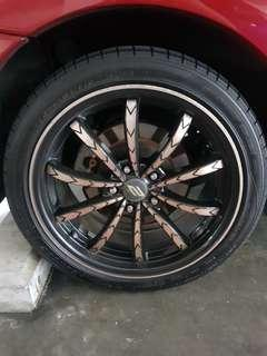 "4 PCS OF 18"" SPORT RIMS AND 4 PCS OF 235/40Z/R18 DUNLOP SP SPORT MAXX D50+ FOR SWAP AND TOP UP"