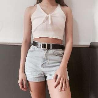 🚚 Zaful White Halter Ribbon Knot Ribber Cropped Tank Top