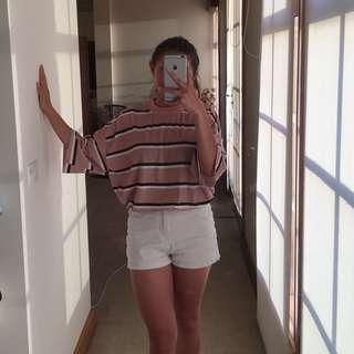 PLT camel / mauve pink striped oversized t shirt dress