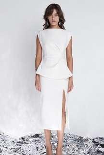 Rachel Gilbert modern bridal, engagement party ivory dress