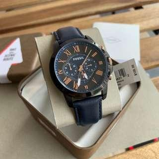 Fossil Original FS5061 GRANT CHRONOGRAPH LEATHER WATCH – BLUE