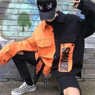 🚚 拼接 撞色 長袖外套 韓版 字母 貼布 寬鬆 橘黑 牛仔 潮 chill 街頭 嘻哈 襯衫酷帥