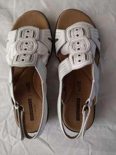Clark White sandals (size 5)