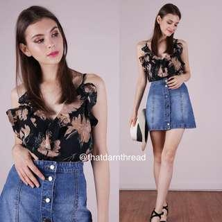 🚚 TTR Ruffles Spag Top in Florals