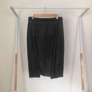 Glassons High Waisted Black Pleather Pencil Skirt