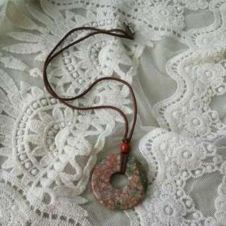Stone silk cord necklace