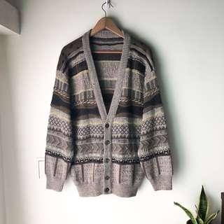 🚚 古著立體毛衣開襟外套