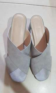Love benito maege cross front heel mules in grey