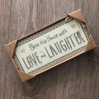 Bless this House with Love and Laughter House Plaque/ Decor