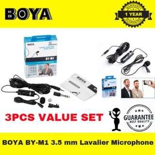 BOYA BY-M1 3.5 mm Lavalier Microphone for Smartphone and Canon/Nikon Camera with 3PCS SET
