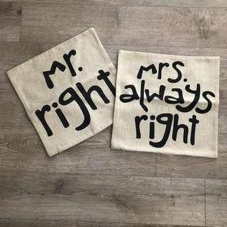 Set of 2 Pillowcases (Mr Right and Mrs Right)