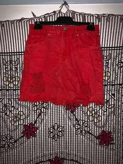 Made for a restless generation RED denim skirt size 8