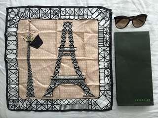 🚚 Authentic Longchamp Ma Tour Eiffel Silk Scarf Limited Edition