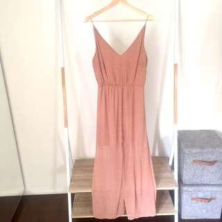 Nude Midi Dress with White Polka Dots, Size 10