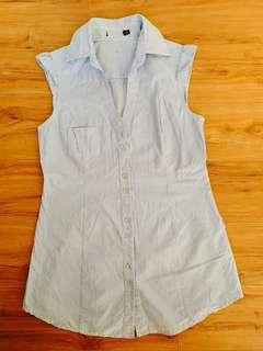Shirt dress vest poplin sleeveless top with blue and white stripes #MakeSpaceForLove