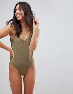 ASOS Le Palm Scoop Back Swimsuit
