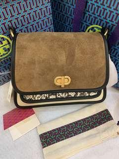 Authentic Tory Burch mix material crossbody bag