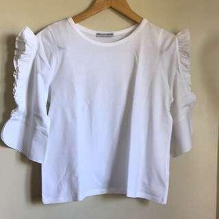 Authentic Zara Frill Sleeves Top