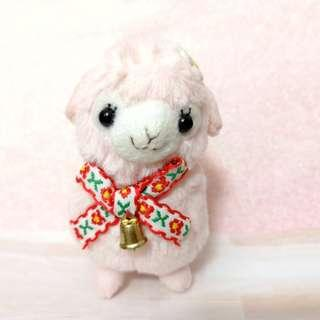 🚚 Pink alpaca soft toy with bell