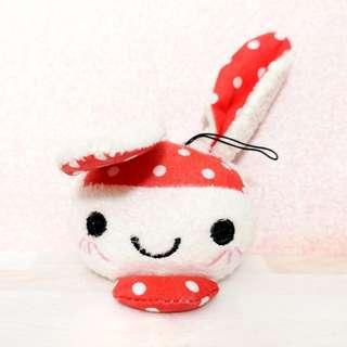 🚚 Plush pink polka dot bunny keychain