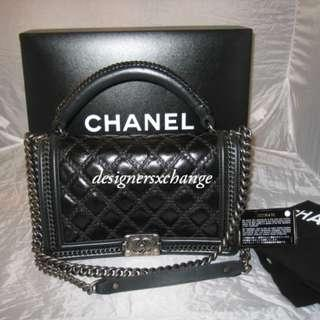 Chanel Boy Chain Handle Black Large Quilted Calfskin Leather Flap Bag (2018 Limited) 15A A94811Y10955