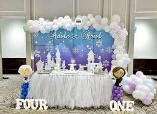 Frozen | Baby Full Month | 100 days | 1 year old | Party Ideas | Themed Styling | Props Rental | Dessert Table | Feature Wall | Instaworthy