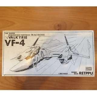 絕版 1/72 MACROSS 超時空要塞,空心膠 VALKYRIE VF-4 盒小殘,水貼小黃