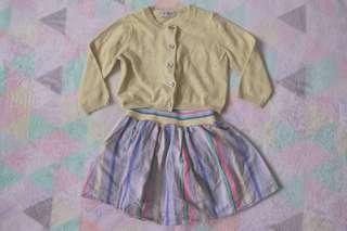 NEXT Yellow Cardigan + Striped Skirt