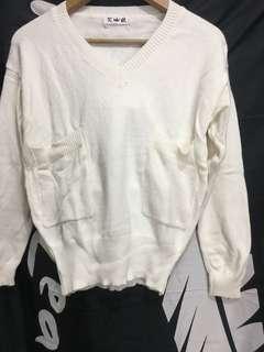 v領白色冷衫